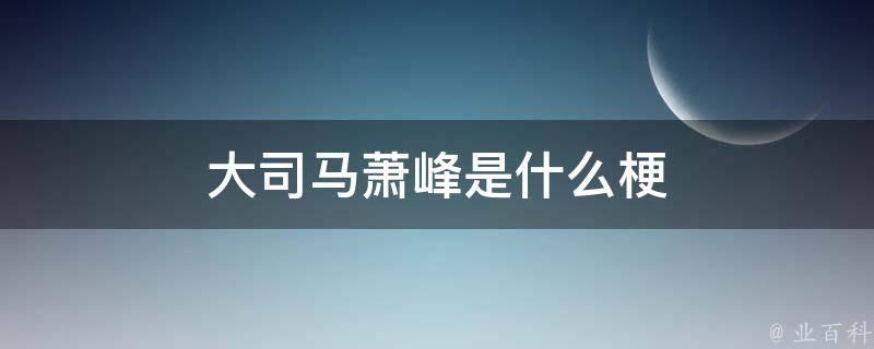 大司马萧峰是什么梗